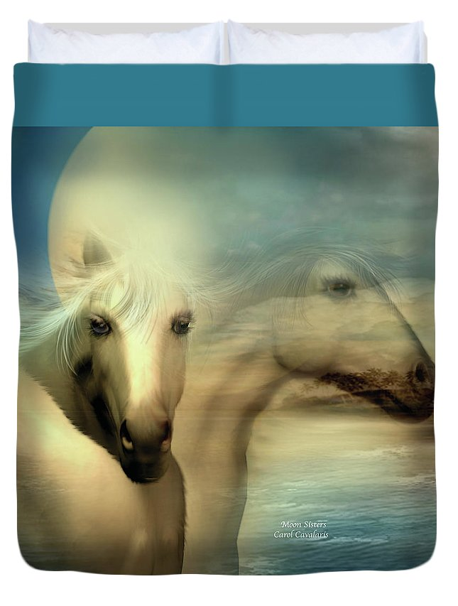 Horse Duvet Cover featuring the mixed media Moon Sisters by Carol Cavalaris