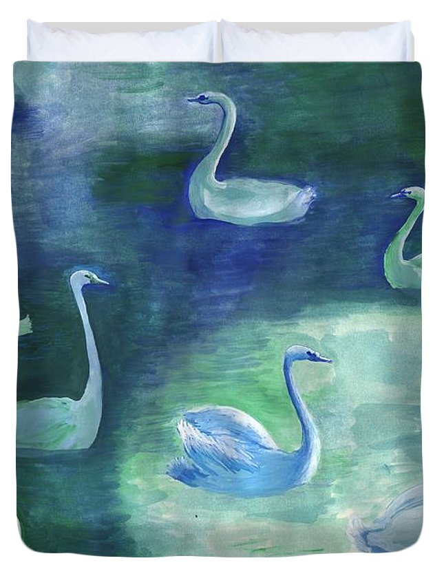 Swan Duvet Cover featuring the painting Moon Swans by Sushila Burgess