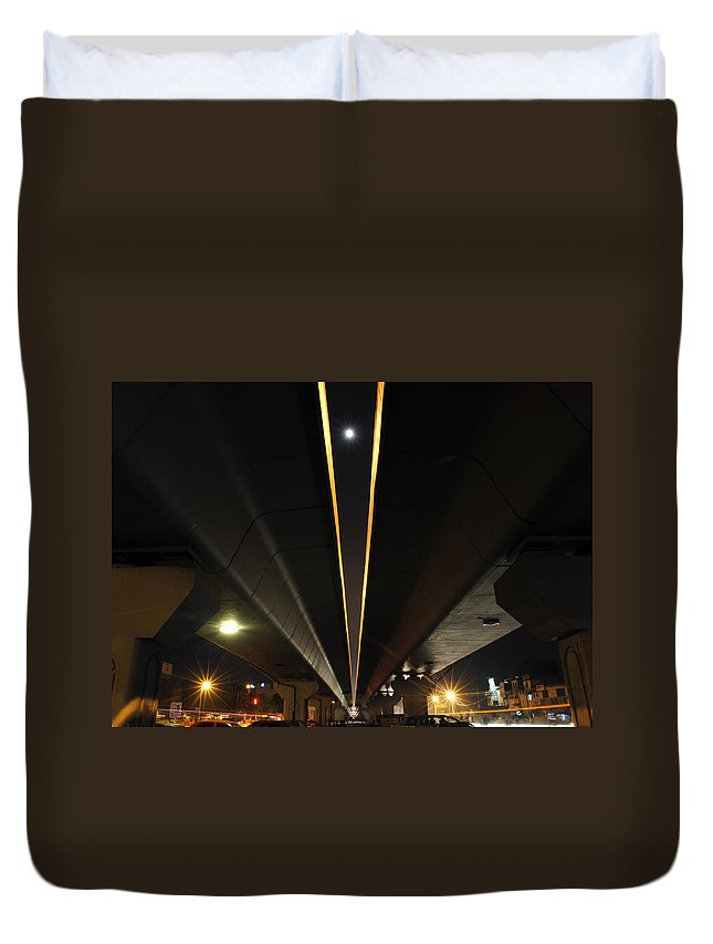 Cars Duvet Cover featuring the photograph Moon Visible Between The Flyover Gap by Sumit Mehndiratta