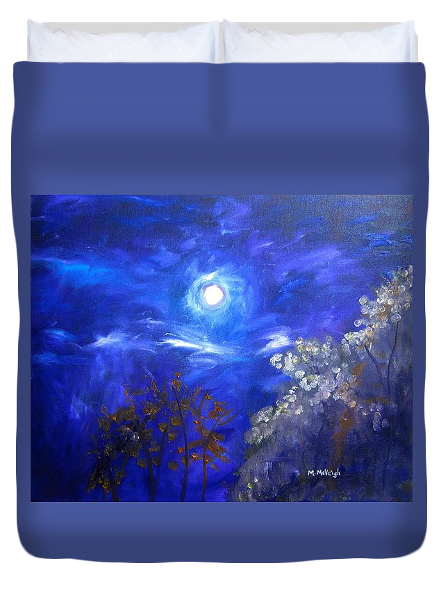 Moonglow Duvet Cover featuring the painting Moonglow by Marita McVeigh