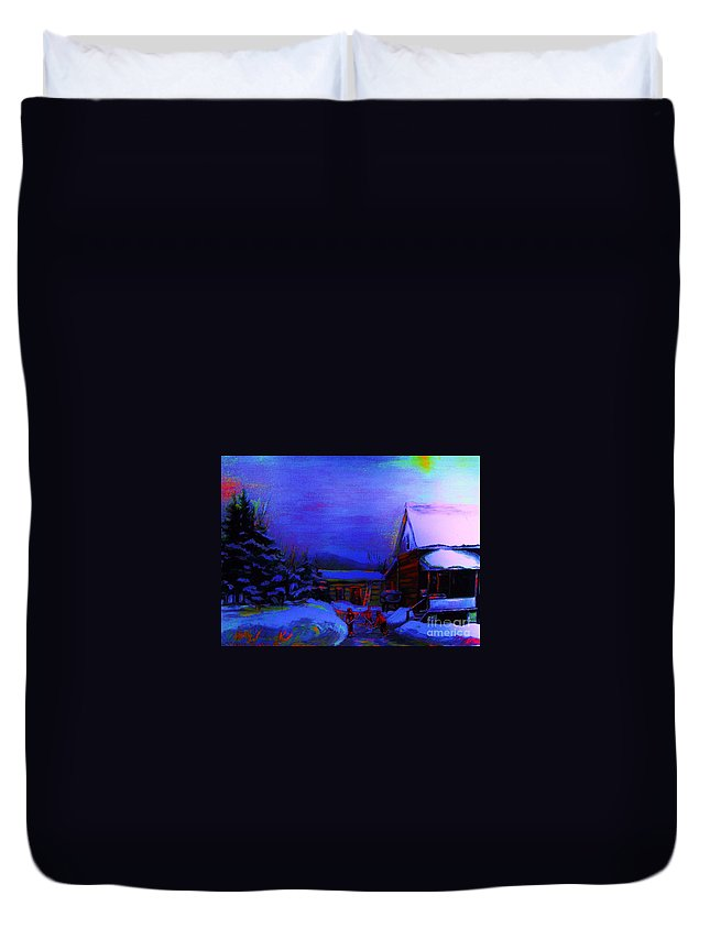 Hockey Duvet Cover featuring the painting Moonglow On Powder by Carole Spandau