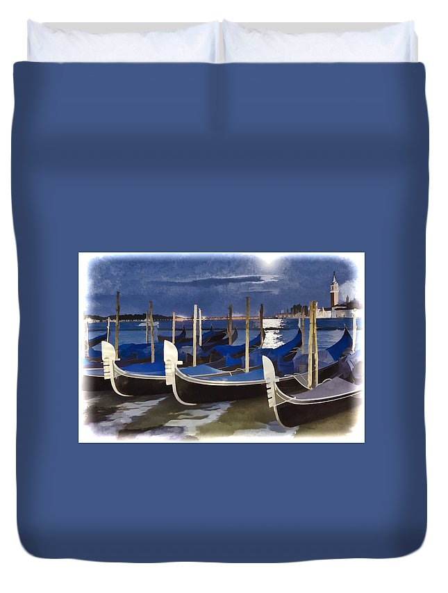 Closed For The Day Duvet Cover featuring the photograph Moonlight Gondolas - Venice by Jon Berghoff