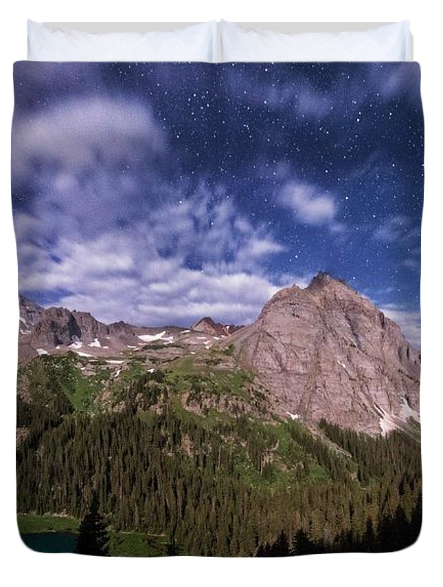 All Rights Reserved Duvet Cover featuring the photograph Moonlight Hiking On The Blue Lakes Trail by Mike Berenson