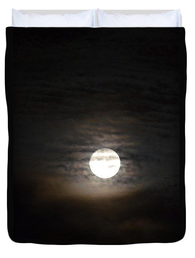 Moonlight In September Duvet Cover featuring the photograph Moonlight In September by Maria Urso