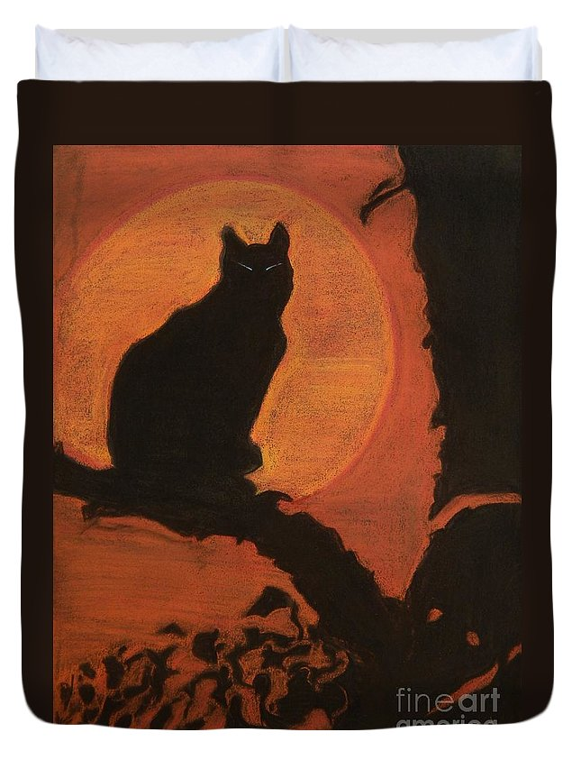 Cat Duvet Cover featuring the pastel Moonlighting Cat by Caroline Street