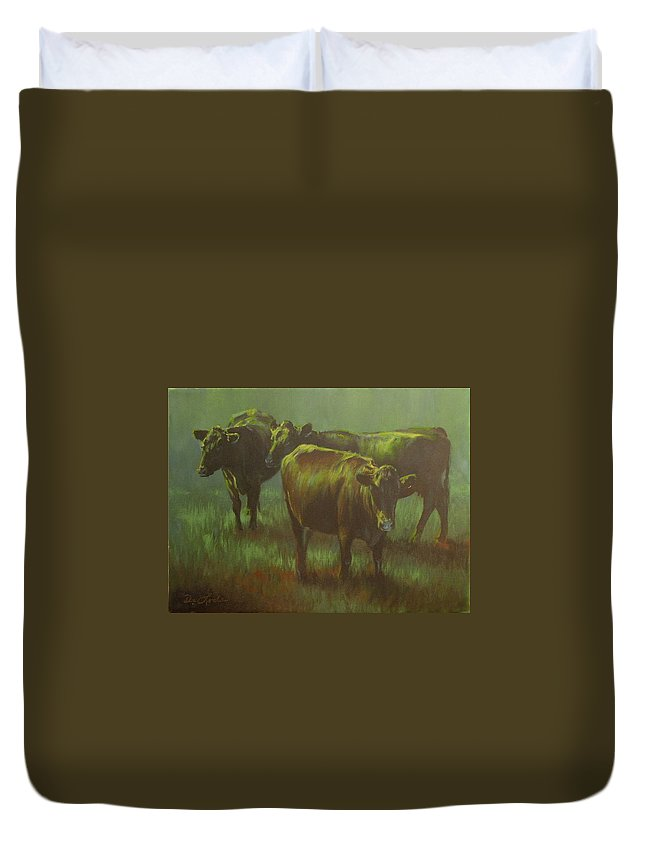 Cows Duvet Cover featuring the painting Moonlit by Mia DeLode