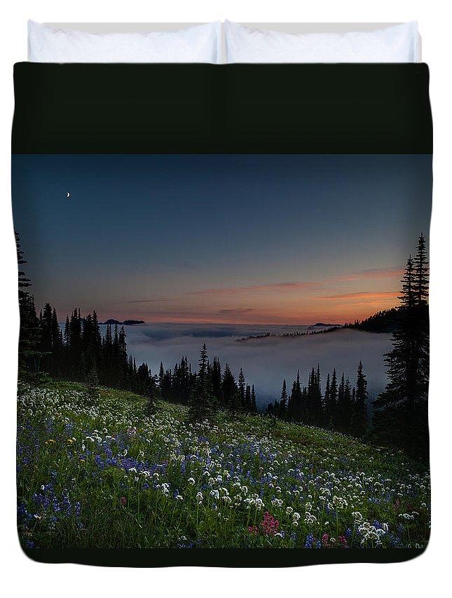 Rainier Duvet Cover featuring the photograph Moonlit Rainier Meadows Sunset by Mike Reid