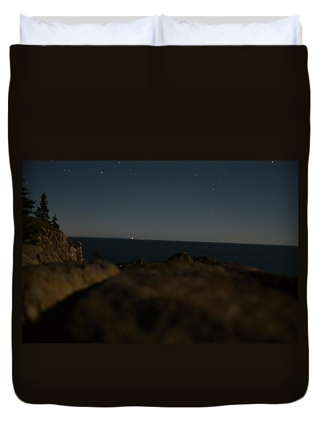 Maine Duvet Cover featuring the photograph Moonlit Starry Sky by James Petersen