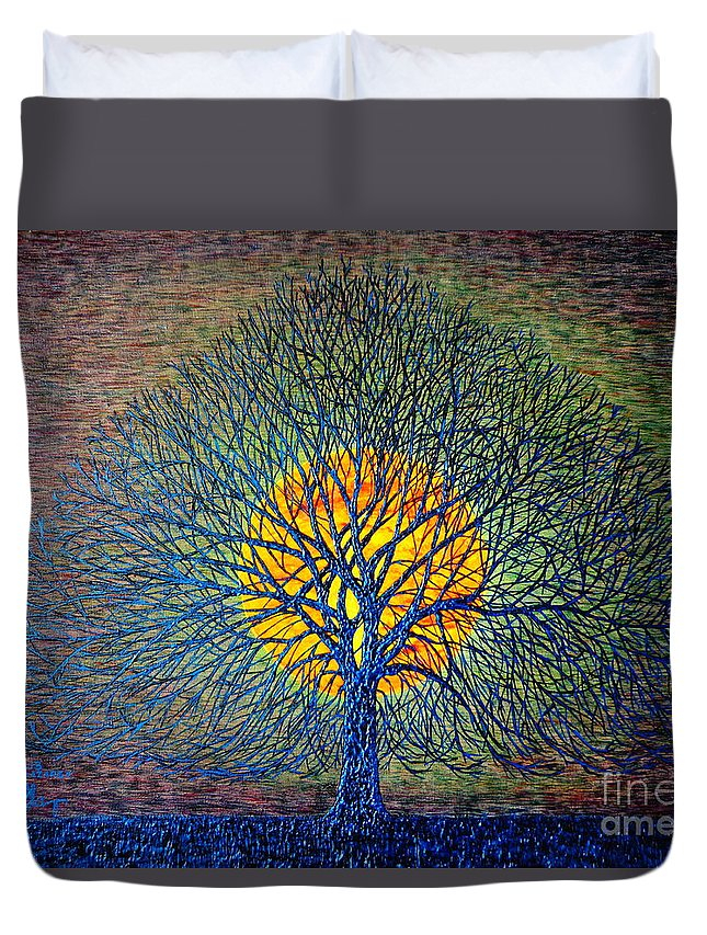 Moon Duvet Cover featuring the painting Moonshine by Viktor Lazarev