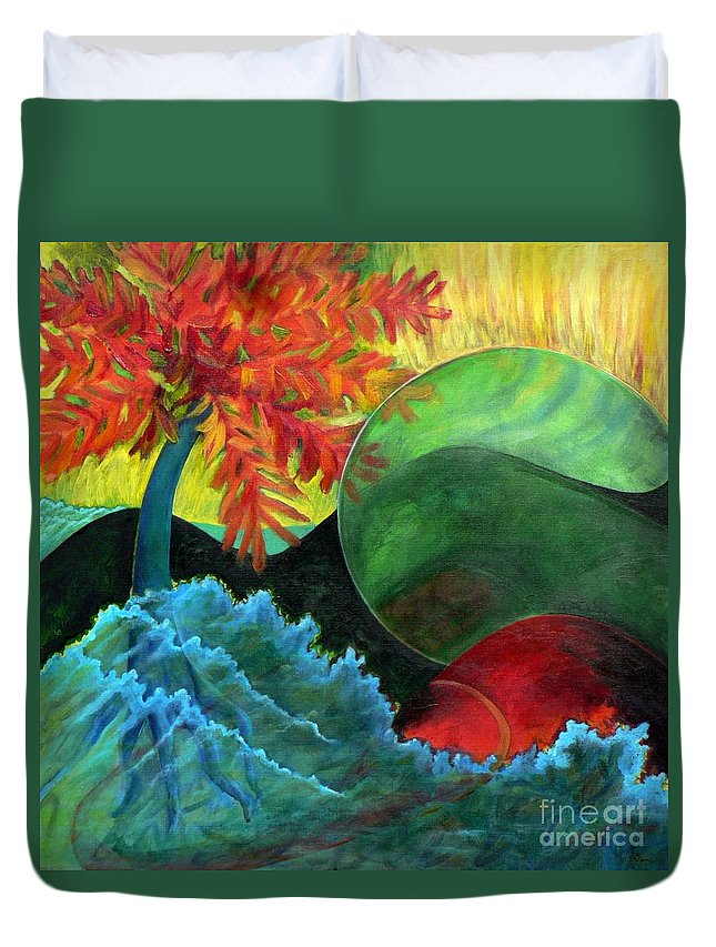 Surreal Landscape Duvet Cover featuring the painting Moonstorm by Elizabeth Fontaine-Barr