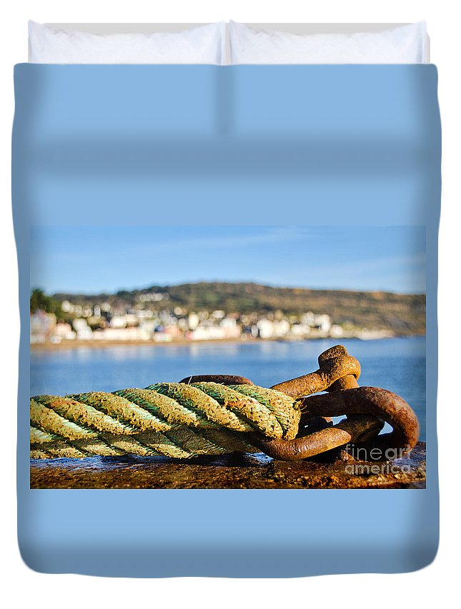 Lyme Regis Duvet Cover featuring the photograph Mooring Lines by Susie Peek