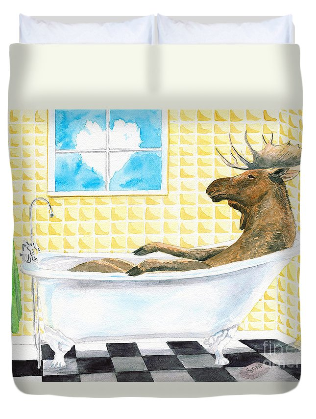 Moose Painting Duvet Cover featuring the painting Moose Bath, Moose Painting, Moose Print, Bath Painting, Bath Print, Cottage Art by LeAnne Sowa