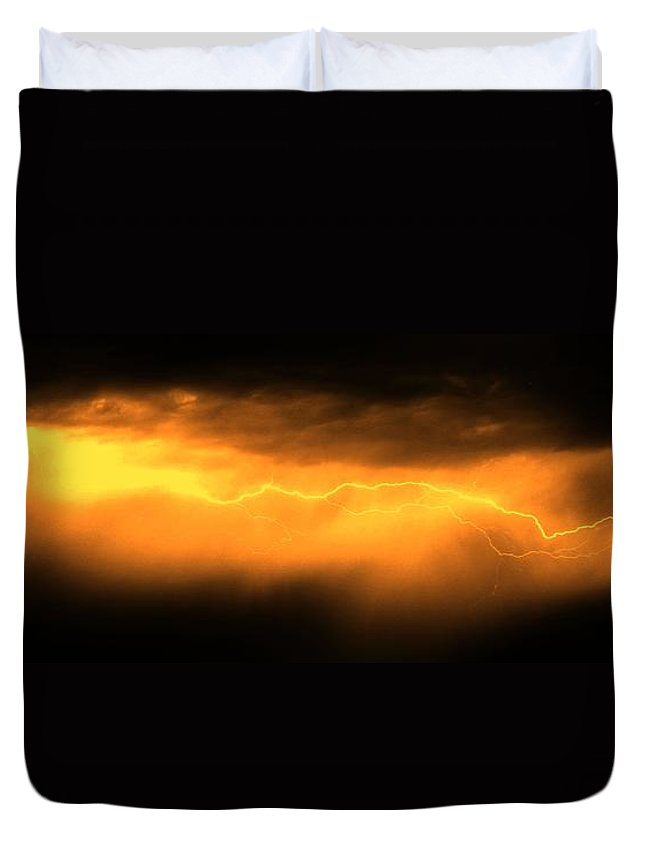 Stormscape Duvet Cover featuring the photograph More Late Night Servere Nebraska Storms by NebraskaSC