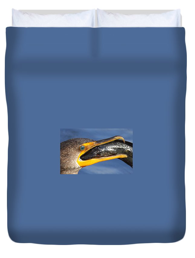 Cormorant Duvet Cover featuring the photograph More Than A Mouthfull by Bruce J Robinson