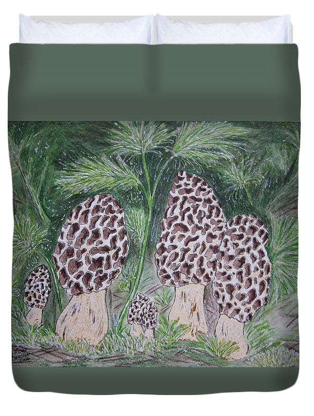 Morel Duvet Cover featuring the painting Morel Mushrooms by Kathy Marrs Chandler
