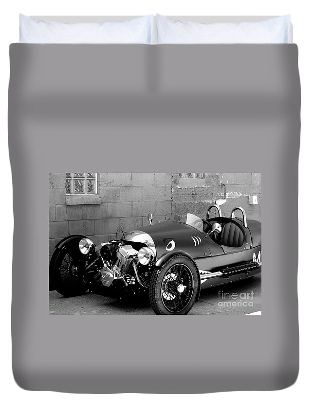 Morgan 3 Wheeler Duvet Cover featuring the photograph Morgan B And W by Optical Playground By MP Ray