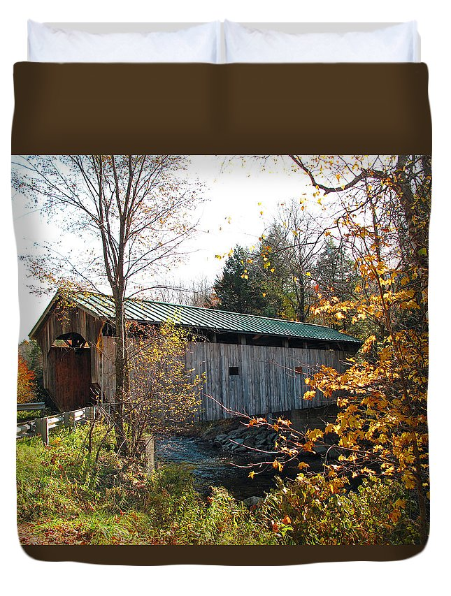 Covered Bridge Duvet Cover featuring the photograph Morgan Bridge 2 by Barbara McDevitt