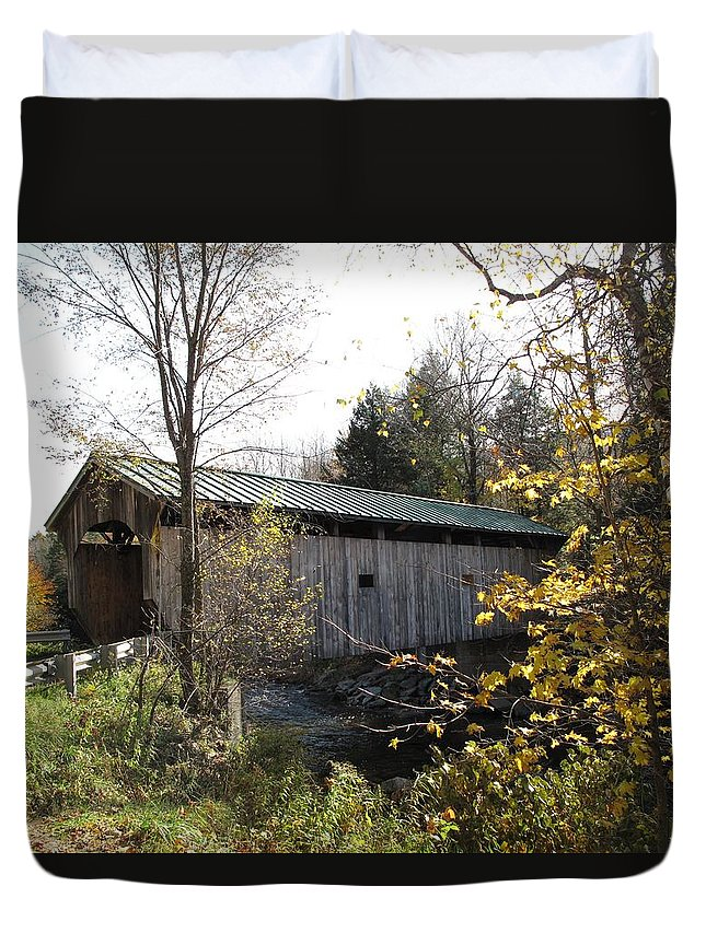 Covered Bridge Duvet Cover featuring the photograph Morgan Bridge Belvidere Junction Vermont by Barbara McDevitt