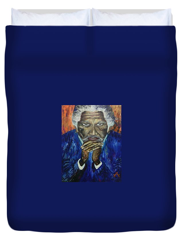 Morgan Freeman Duvet Cover featuring the painting Morgan Freeman by Lettie Atkins