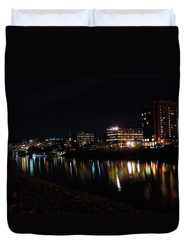 City Duvet Cover featuring the photograph Morgantown Skyline At Night From The Waterfront by Cityscape Photography
