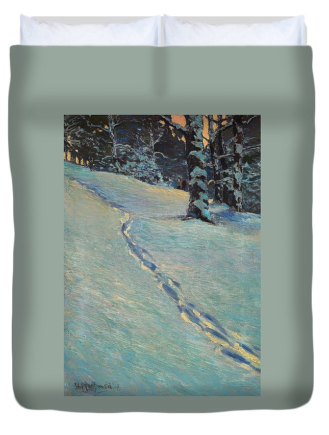 Painting Duvet Cover featuring the painting Morning After Snow by Mountain Dreams