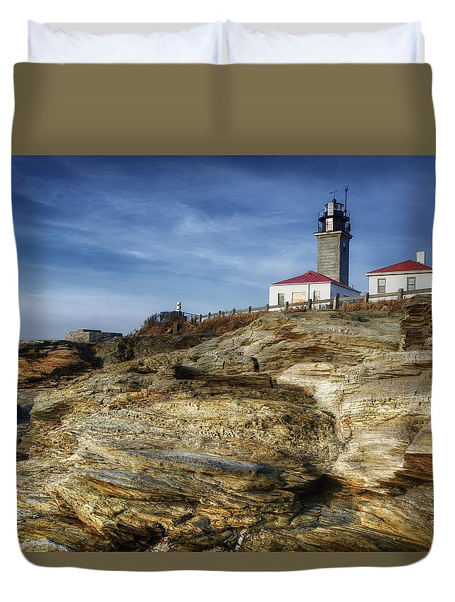 Joan Carroll Duvet Cover featuring the photograph Morning At Beavertail Lighthouse by Joan Carroll