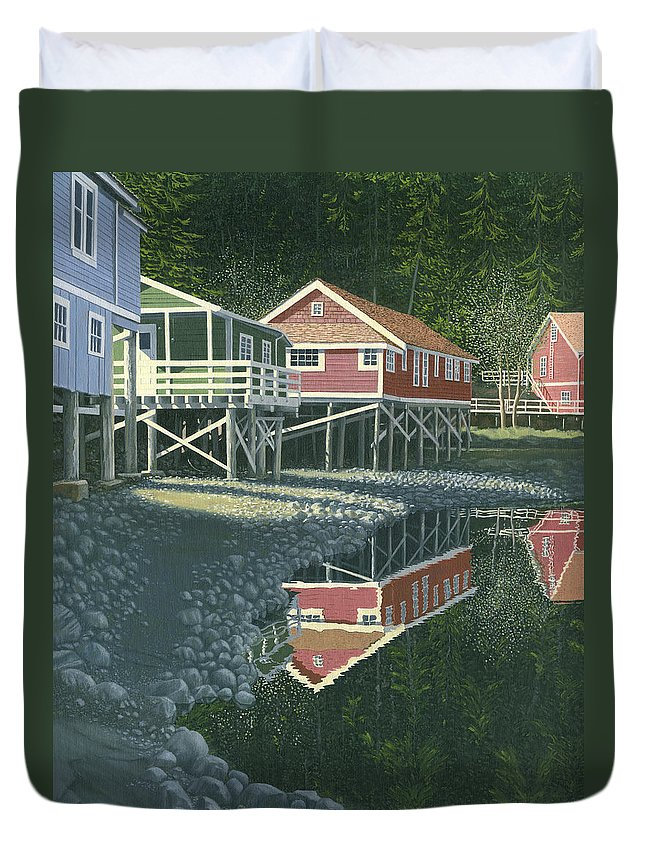Landscape Duvet Cover featuring the painting Morning At Telegraph Cove by Gary Giacomelli