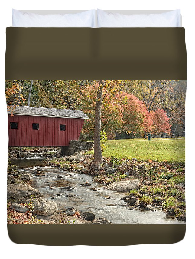Covered Bridge Duvet Cover featuring the photograph Morning At The Park by Bill Wakeley