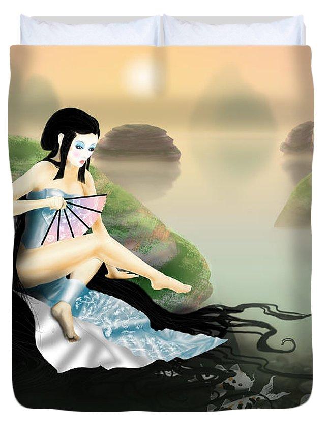 Fish Duvet Cover featuring the digital art Morning Beginagaiin by Devaron Jeffery