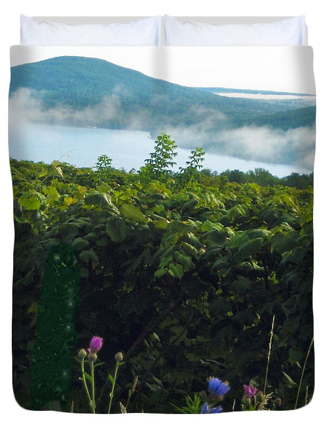Lake Duvet Cover featuring the photograph Morning Blossoms by Mary Cloninger