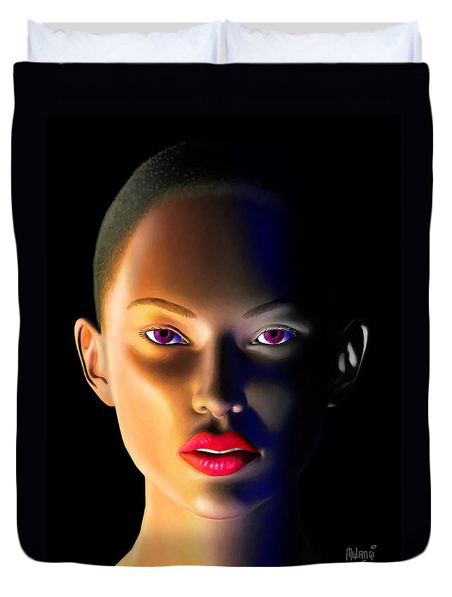 Face Duvet Cover featuring the digital art Morning Dew by Anthony Mwangi