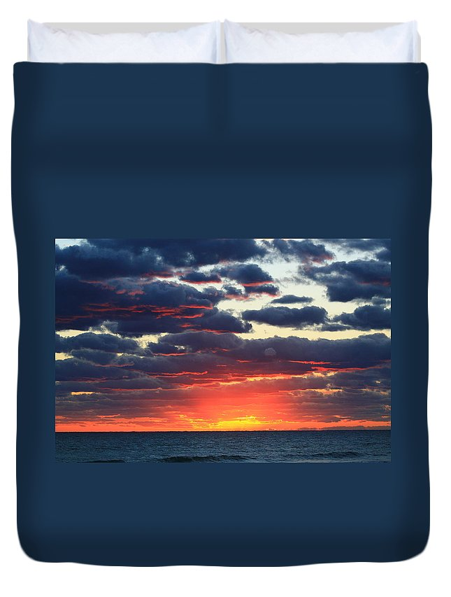 Jupiter Duvet Cover featuring the photograph Morning Fire by Catie Canetti