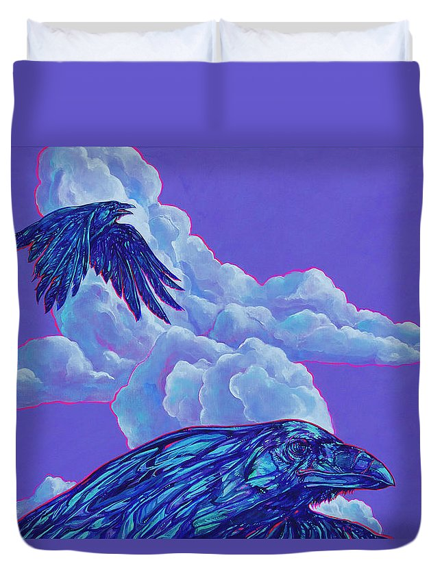 Bird Duvet Cover featuring the painting Morning Flight by Derrick Higgins