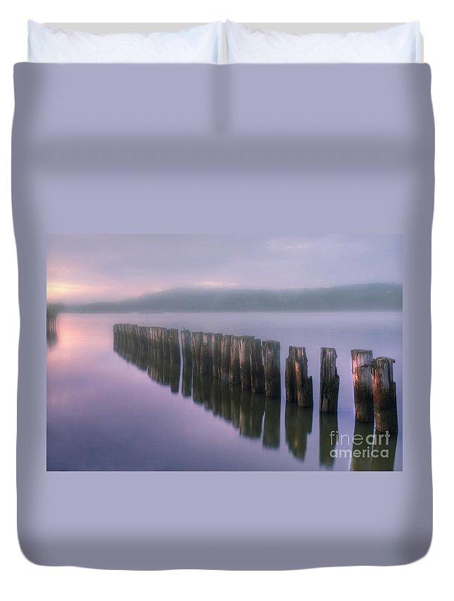 Art Duvet Cover featuring the photograph Morning Fog by Veikko Suikkanen