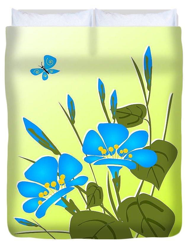 Plant Duvet Cover featuring the digital art Morning Glory by Anastasiya Malakhova