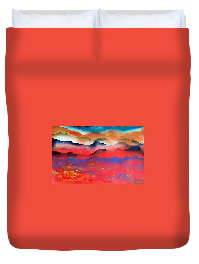 Abstract Duvet Cover featuring the painting Morning Glory by Gerry Smith