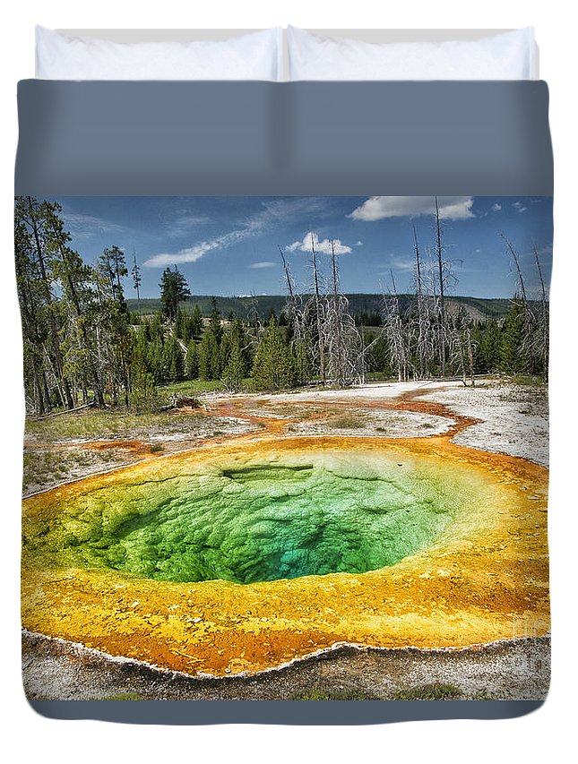 Geyser Duvet Cover featuring the photograph Morning Glory Pool by Claudia Kuhn