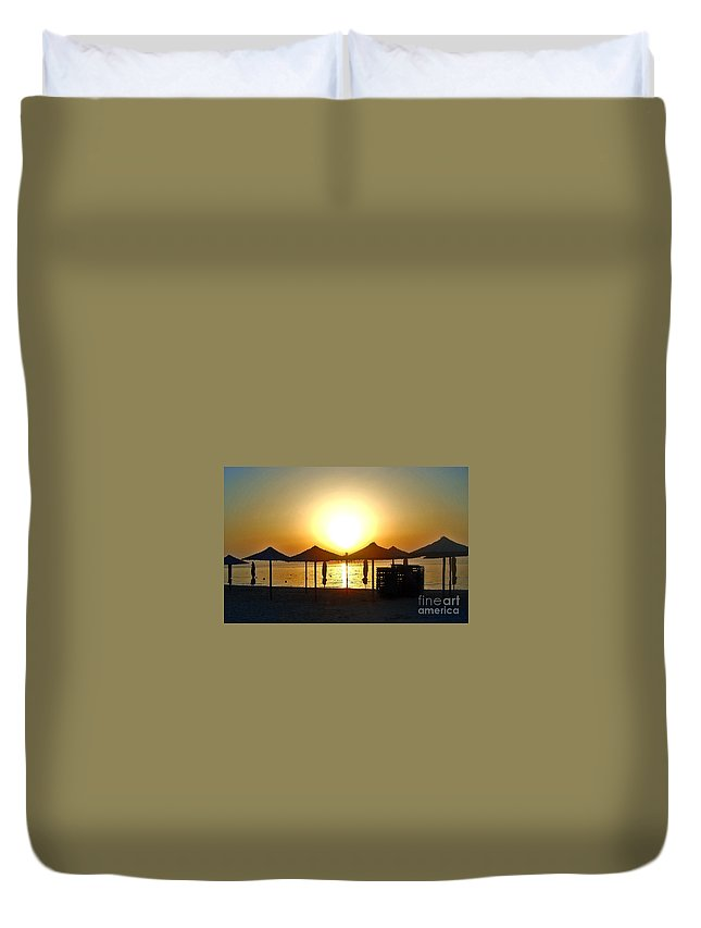 Morning Duvet Cover featuring the photograph Morning In Greece by Nina Ficur Feenan