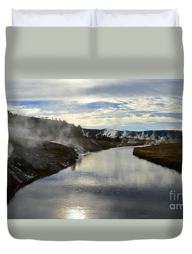 Yellowstone National Park Duvet Cover featuring the photograph Morning In Upper Geyser Basin In Yellowstone National Park by Catherine Sherman