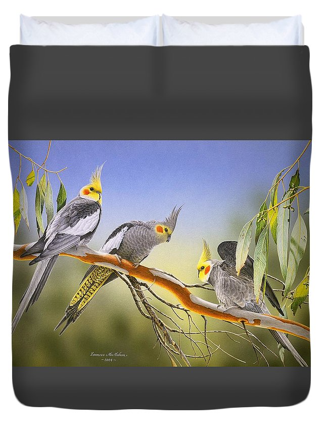 Cockatiel Duvet Cover featuring the painting Morning Light - Cockatiels by Frances McMahon