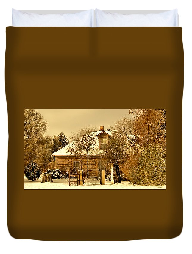 Log House Duvet Cover featuring the digital art Morning Light Log House by Aliceann Carlton