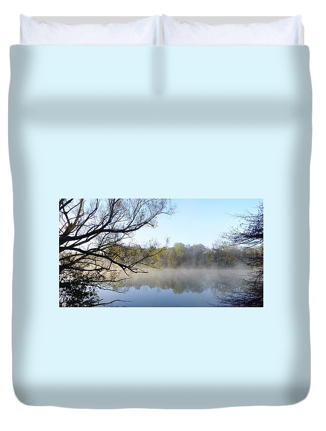 Nature Duvet Cover featuring the photograph Morning Mist by Peggy King