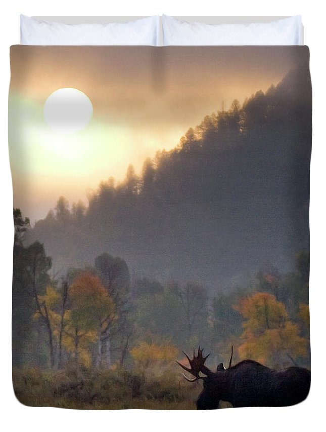 Moose Duvet Cover featuring the photograph Morning Moose by Max Waugh