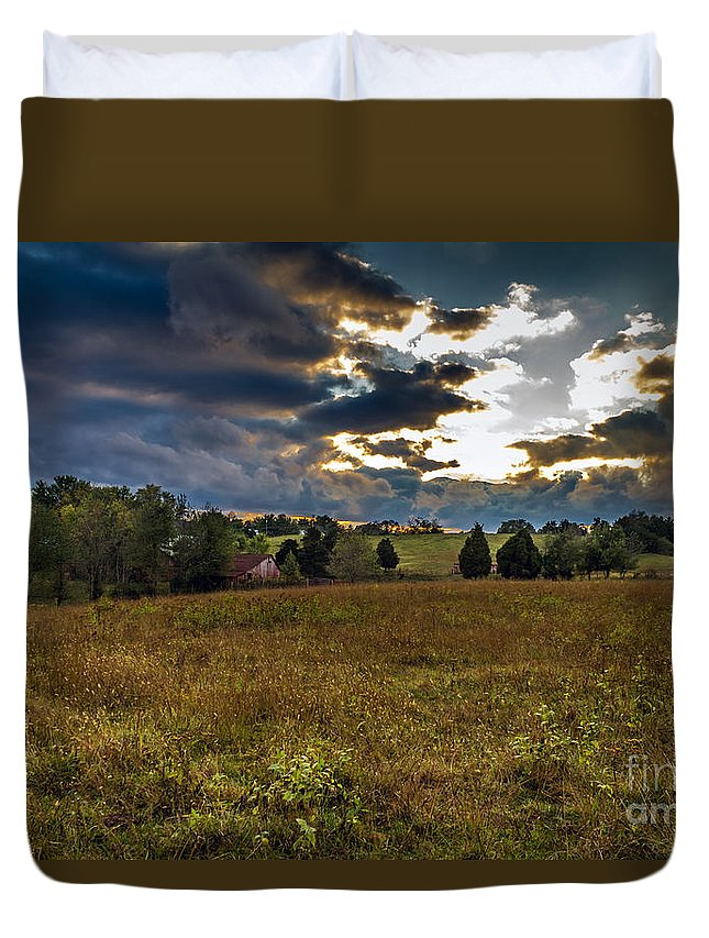 Rural Duvet Cover featuring the photograph Morning On The Farm Three by Ken Frischkorn