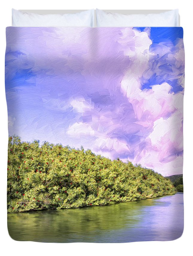 Morning Duvet Cover featuring the painting Morning On The Hanalei River by Dominic Piperata
