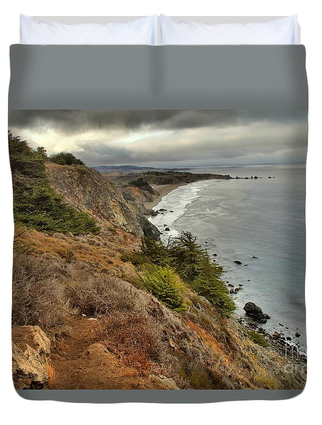 Bug Sur Duvet Cover featuring the photograph Morning Pacific Storm Clouds by Adam Jewell