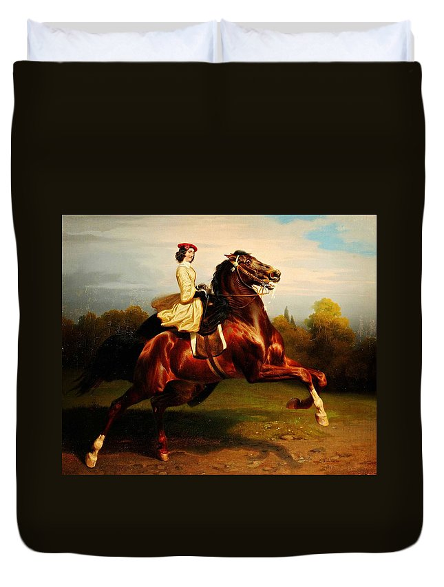 Morning Race Duvet Cover featuring the painting Morning Race by MotionAge Designs