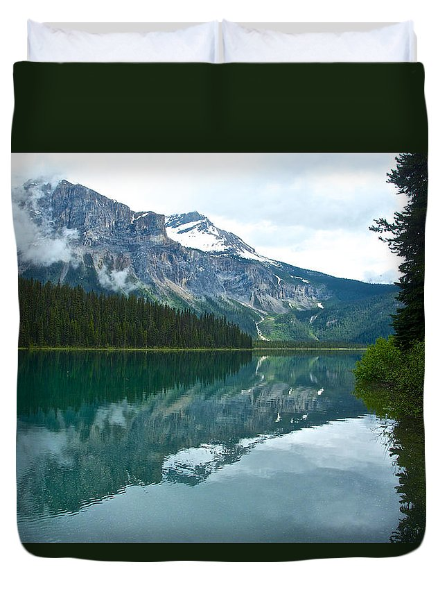Morning Reflection In Emerald Lake From Trail In Yoho Np Duvet Cover featuring the photograph Morning Reflection In Emerald Lake In Yoho National Park-british Columbia-canada by Ruth Hager