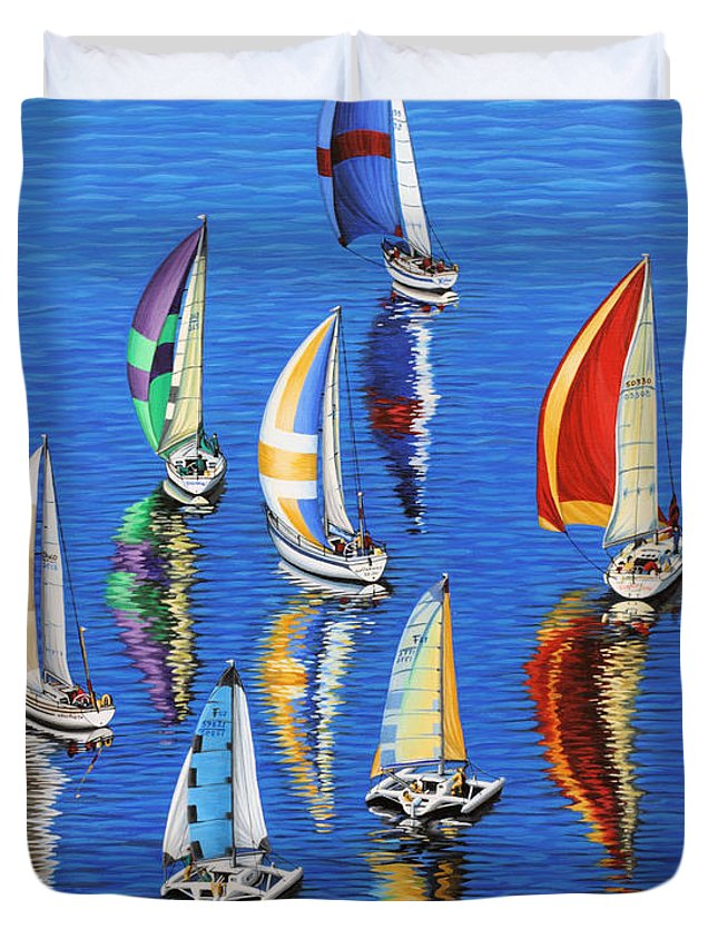 Ocean Duvet Cover featuring the painting Morning Reflections by Jane Girardot