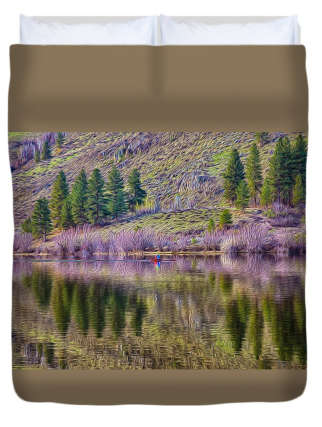 Water Duvet Cover featuring the photograph Morning Rowing by Omaste Witkowski